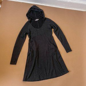 IBEX Black Hooded Merino Wool Long Sleeve Dress